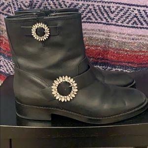 Black embellished boots